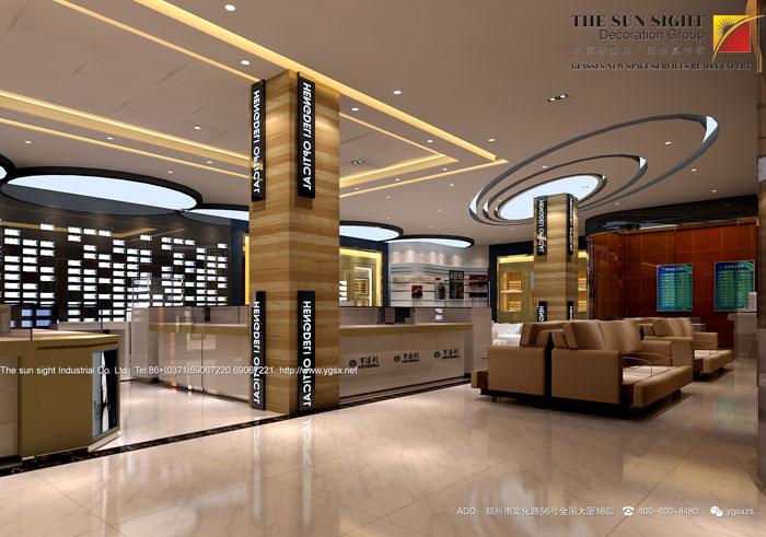 首页 设计作品 >> 山西亨德利眼镜店装修效果图   空间以多元素化设计